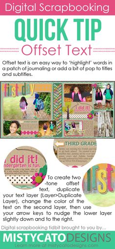 Quick instructions for using offset text to emphasize text in titles and journaling for digital scrapbooking layouts. Learn Photoshop, Photoshop Tips, Photoshop Elements, Photoshop Tutorial, Digital Scrapbooking Layouts, Photo Projects, Silhouette Projects, Project Life, Scrapbook Cards