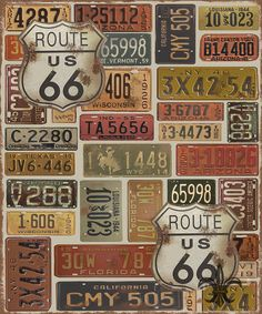 Route 66 was digitally designed and created by Jean Plout. Many old vintage license plates from all over the USA! Get your kicks on Route This art would look great in any Man Cave, Game room, garage or wall that needs that cool retro touch. Vintage Labels, Vintage Signs, Vintage Images, Route 66, Vermont, Wisconsin, Carros Vintage, Old License Plates, Etiquette Vintage