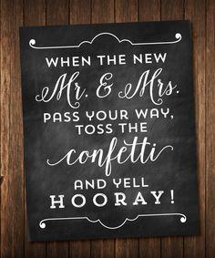 Chalkboard Wedding Confetti Toss sign
