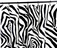 Black Curtains. Zebra Panels. Animal Print by TwistedBobbinDesigns