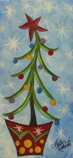 Dancing Christmas Tree plus 15 easy canvas Christmas paintings. Christmas Projects, Holiday Crafts, Noel Christmas, Christmas Ornaments, Whimsical Christmas, Christmas 2017, Christmas Poinsettia, Crochet Christmas, Christmas Paintings On Canvas