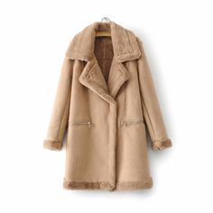 Size(cm) S M L Shoulder Width 41 42 43 Bust 102 106 110 Sleeve Length 56 57 58 Length 83 84 85 Long Leather Coat, Leather Jacket, Coats For Women, Jackets For Women, Winter Puffer Jackets, Faux Shearling Coat, Outerwear Women, Clothes For Sale, Clothing