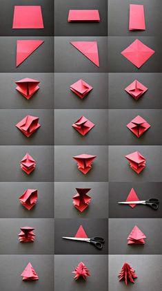 #Sapin de #Noel en origami, un peu difficile pour les enfants, mais les parents peuvent donner leur aide