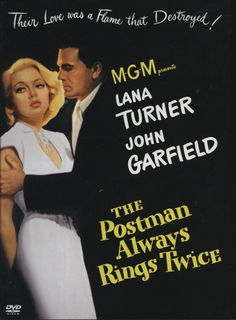 This noir classic stars Lana Turner as a married woman who falls in love with a drifter (John Garfield).  Together, they plot to murder her husband.  In true noir fashion, things don't turn out the way they thought they would and they have to live with the consequences of their actions.  The film is based on the novel of the same name by hard-boiled master James H. Cain.