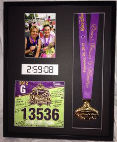 Runners Racebox - Half Marathon - Shadowbox Frame Custom made shadowbox picture frame to proudly display all your race bling! Frame is deep and holds your finisher medal, race bi Running Bibs, Running Medals, Running Race, Disney Princess Half Marathon, Disney Marathon, Disney Races, Run Disney, Disney 10k, Ironman Triathlon Motivation