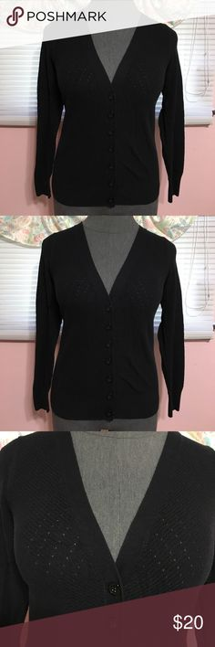 🎉price drop🎉Lane bryant cardigan Lane bryant cardigan. Black button up with delicate dot hole details. Size 14 Lane Bryant Tops