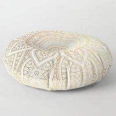 Gold Mandala Pattern Floor Pillow Throw Pillow Bohemian