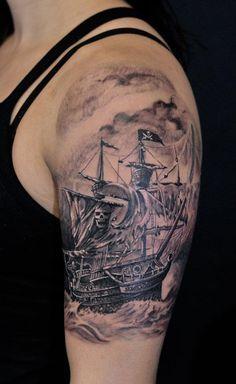 Chronic ink Tattoos, Toronto Tattoo - Pirate ship half sleeve-this is fuckin badass! Badass Tattoos, Love Tattoos, Beautiful Tattoos, Ink Tattoos, Tattoo Marin, Sea Tattoo, Tattoo You, Sextant Tattoo, Ship Tattoo Sleeves