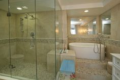 Ponce Inlet Seaside Retreat - master bath tub and shower Pathfinder Group Designs