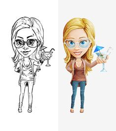 Female Cartoon Character Draft: http://tooncharacters.com/female-cartoon-characters/female-cartoon-character-with-glasses/