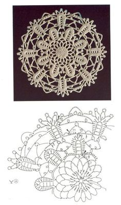 Vintage Crochet Patterns, Crochet Flower Patterns, Lace Patterns, Crochet Flowers, Crochet Diagram, Crochet Motif, Crochet Doilies, Love Crochet, Irish Crochet