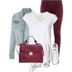 Designer Clothes, Shoes & Bags for Women Chic Outfits, Fall Outfits, Summer Outfits, Fashion Outfits, Womens Fashion, Outfit Pantalon Vino, Burgundy Jeans Outfit, Maroon Pants Outfit, Looks Camisa Jeans