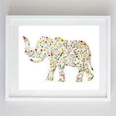 Floral Elephant- Print of Original Watercolor Painting 8x10