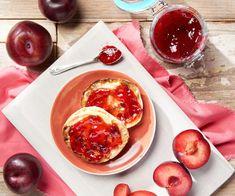 Plum Jam - Cookidoo® – the official Thermomix® recipe platform Custard Sauce, Plum Jam, Blueberry Jam, Jam And Jelly, Salted Chocolate, Food Shows, Serving Size, Vegan Gluten Free, Recipies