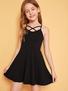 To find out about the Girls Crisscross Front Slip Flare Dress at SHEIN, part of our latest Girls Dresses ready to shop online today! Girls Fashion Clothes, Kids Outfits Girls, Cute Girl Outfits, Tween Fashion, Fashion Dresses, Girls Dresses Tween, Teenage Girl Outfits, Toddler Girl Dresses, Kids Clothing