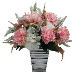 Add a charming centerpiece to your desk or coffee table with this beautiful faux peony and amaranth arrangement, showcasing lush blossoms nestled in a textur...