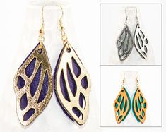 Laser Cut Leather Earrings - Butterfly Wing Design (Choose Your Color Combo) Inspired by Nature