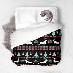 Christmas Pattern black Duvet Cover