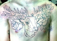 beautiful out line of a deer chest piece.