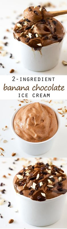 (Vegan and GF) 2-Ingredient Banana Chocolate Ice Cream #vegan #glutenfree