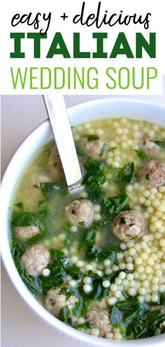 Italian Wedding Soup (The BEST!) The ultimate comfort food and easy dinner wrapped up in one. Your whole family will love this soup (kids, too!) The recipe is based on my daughter's favorite soup, which she used to eat almost every day. Crockpot Italian Wedding Soup, Italian Soup, Italian Recipes, Italian Cooking, Beef And Pork Meatballs, Tasty Meatballs, Mini Meatballs, Best Soup Recipes, Crockpot Recipes