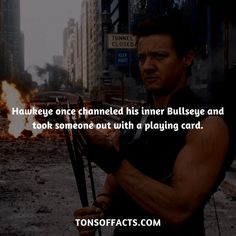 Hawkeye once channeled his inner Bullseye and took someone out with a playing card. Marvel Facts, Disney Marvel, Marvel Dc Comics, Marvel Avengers, Avengers Memes, Marvel Memes, Superhero Facts, Clintasha, Comic Pictures