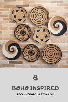 8 wall baskets set African Boho inspired wall decor The Effective Pictures We Offer You About round baskets decor A quality picture can tell yo Home Decor Baskets, Basket Decoration, Baskets On Wall, Diy Home Decor, Rolled Magazine Art, Painted Ceramic Plates, Simple Living Room Decor, Family Room Walls, Plates On Wall