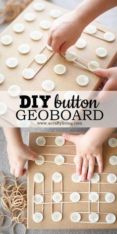 DIY Button Geoboard for Preschoolers! www.acraftyliving.com