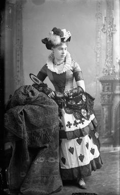 A lovely young Victorian Canadian woman wearing a whimsically delightful playing card themed costume. #Victorian #vintage #Canada #history #women