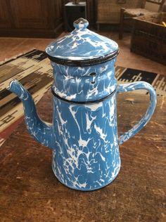 Vintage  Enamelware Graniteware Blue and White Enamel Coffee Pot French? Biggin?