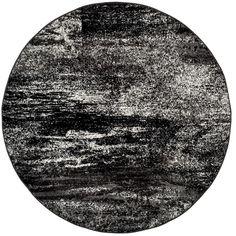 Adirondack Silver/Black 4 Ft. X 4 Ft. Round Area Rug