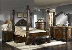 Shop for a Southampton 6 Pc Canopy Queen Bedroom at Rooms To Go. Find Queen Bedroom Sets that will look great in your home and complement the rest of your furniture. Cool Bedroom Furniture, Furniture Sets Design, At Home Furniture Store, Bar Furniture, Rooms To Go Bedroom, Canopy Bedroom, Home Bedroom, Bedroom Sofa, Dream Bedroom