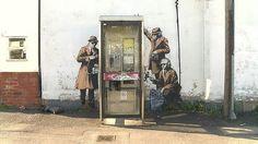 Banksy (tbc) street art near GCHQ, Cheltenham, UK.