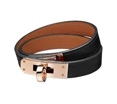 "Hermes leather bracelet in Box calfskin Rose gold plated hardware, 14.5"" long, 2.25"" diameter, 0.5"" wide, 6.7"" circumference"