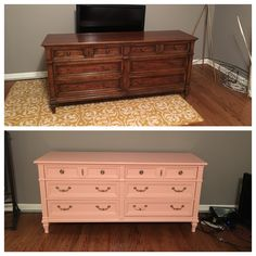 Painted dresser: Mellow Coral (Sherwin Williams) and Golden Egg (Amy Howard) for hardware. Furniture Market, Refurbished Furniture, Upcycled Furniture, Furniture Makeover, Painted Furniture, Coral Dresser, Coral Paint Colors, Coral Bedroom, Amy Howard