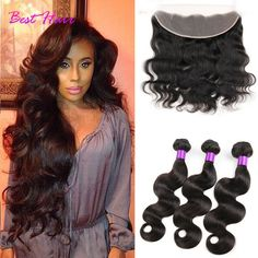 Brazilian Body Wave with Closure Ear to Ear Lace Frontal Closure with Bundles Brazilian Virgin Har with Closure Hair Extensions