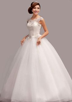 87d9bf65f8f Delicate Scoop Neck Rhinestoned Lace Women s Backless Floor Length Organza  Wedding Dress -  backless