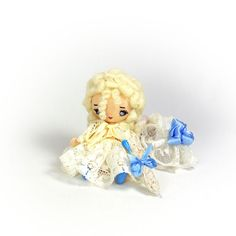 Miniature textile doll  4 inch 10 cm Blonde doll by KaterinaMenthe
