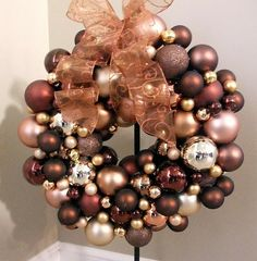 Chocolate, brownish-pink and golds... very interesting combo for Christmas.  Like it.