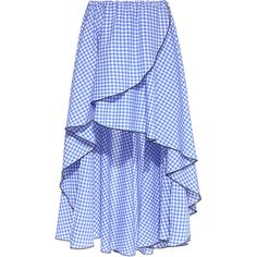 Caroline Constas - Adelle Asymmetric Gingham Ruffled Wrap Mini Skirt (1.555 BRL) ❤ liked on Polyvore featuring skirts, mini skirts, blue gingham skirt, blue skirt, asymmetrical mini skirt, ruffle mini skirt and high low ruffle skirt