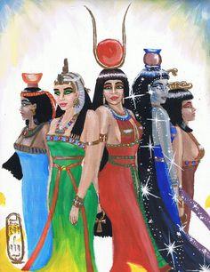 De gauche à droite : Nephthys, Isis, Hathor, Nut et Serket par MyWorld1 deviantART