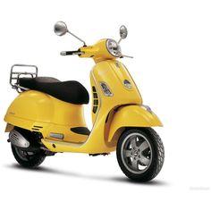 Yellow Vespa GTS 125 2008 1 wallpaper ❤ liked on Polyvore