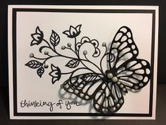 My Creative Corner!: Flowering Flourishes, Sheltering Tree, Butterfly Thinlits, Thinking of You Card, Stampin' Up!, Rubber Stamping, Handmade Card