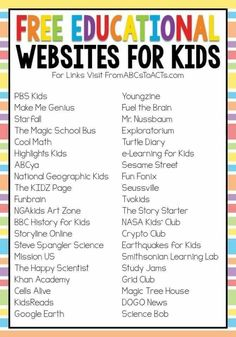 Educational Websites For Kids, Websites For Students, Educational Activities, Fun Websites For Kids, Free Learning Websites, Social Emotional Activities, Online Websites, Preschool Activities, Preschool Schedule