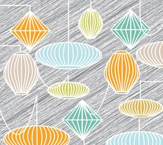 """Fabric """"Lampshades"""" by Carswell King"""
