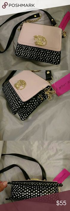 Betsey johnson call me xbody NWT PALE PINK BLK Why golden tone accent telephone detail. (eL) Betsey Johnson Bags Crossbody Bags