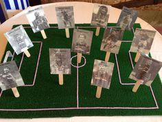 #Tableu su campo di calcio, armonizzato coi colori del matrimonio! #calcio,#milan,#seppia