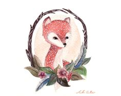 Fox Feathers & Roses Portrait Watercolor Print by Fauxden on Etsy, $3.00