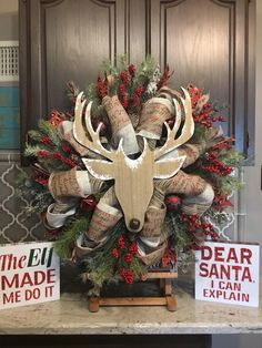 A personal favorite from my Etsy shop https://www.etsy.com/listing/566336439/christmas-wreath-deer-wreath-rustic