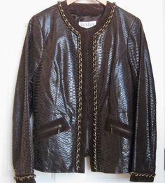 Bradley  Bayou Brown Leather Jacket Size M with Gold  Chain  Lined #BradleyBayou #BasicCoat